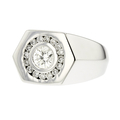 Unique 14K White Gold Hexagon Men's Brilliant Cut Diamond Ring - Brand New