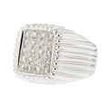18K White Gold Men's Diamond Signet Ring -  Brand New - Certified