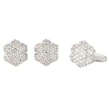 Stylish 18K White Gold Women's Diamond Ring & Earrings Set - 6.40CTW - Brand New