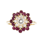 Gorgeous 14K White Gold Diamond & Ruby Ladies Ring - Brand New