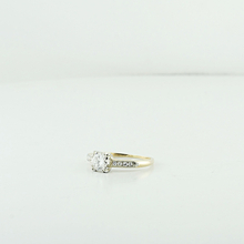 Vintage Yellow White Gold Ladies Engagement Diamond Ring Wedding Jewelry Size 3