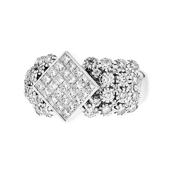 Exquisite 14K White Gold Women's Fancy Diamond Ring 2.64CTW - Brand New