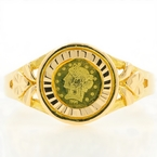 Estate Ladies 18K Yellow Gold Coronet Coin Bezel Set Right Hand Ring