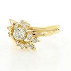 Vintage Estate Ladies 14k Yellow Gold Diamond Wedding Ring Set Jewelry - 0.85CTW