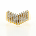 "Vintage Classic Estate 18K Yellow Gold Ladies Diamond ""V"" Ring - 0.66CTW"