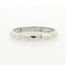 Estate Ladies 10K White Gold Bezel Set Diamond 0.21CTW Ring Band