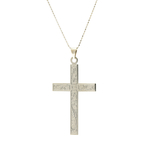 "Vintage Classic Estate 14K White Gold Cross Pendant 18 1/2"" Bead Chain Necklace"