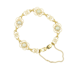 Charming Vintage Estate 14K Yellow Gold Pearl Ornate Accent Bracelet -  7 Inch