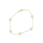 Elegant Classic Estate Ladies 14K Yellow Gold Pearl Accent  7 1/2 Inch Bracelet