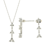 Estate 10K White Gold Diamond Ladies Earrings Pendant Necklace Set - 0.50CTW