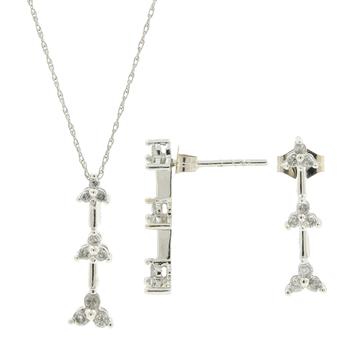 Ladies Estate 10K White Gold Diamond Earrings Necklace & Pendant Set - 0.50CTW