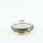 David Yurman Men's Waves Band Ring Silver & Yellow 18K Gold With Black Diamonds