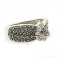 Ladies Vintage Classic Estate 10K White Gold Black & White Diamond Ring Band