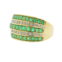 Vintage 14K Yellow Gold Emerald Diamond 1.20CTW Anniversary Ladies Ring Band