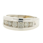 Vintage Estate 14K White Gold Brilliant Round Diamond Men's Ring Band - 0.70CTW