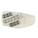 Modern Men's 10K White Gold Black Diamond Ring Size 10.5 - 0.55CTW