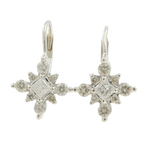 Vintage Estate 14K White Gold Princess Cut Diamond French Back Earrings 0.65CTW