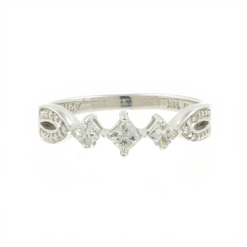 Vintage Estate 14K White Gold Three Stone Princess Cut Diamond Engagement Ring