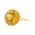 Classic Estate Ladies 10K Yellow Gold Round Cut Orange Citrine Cocktail Ring