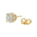 Vintage 14K Yellow Gold Natural Diamond Single Push Back Stud Earring - 0.50CTW