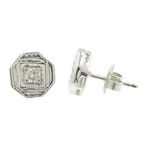Vintage Classic Estate 14K White Gold Diamond Stud Push Back Earrings - 0.20CTW