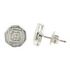 Vintage Classic Estate 14K White Gold Diamond Stud Push Back Earrings - 0.20CTW