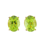 Estate 14K Yellow Gold Ladies Peridot Oval Cut Push Back Earrings - 2.88CTW