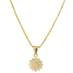 Vintage Estate 18K Yellow Gold Zirconia Cluster Pendant Box Chain - 16 Inch
