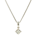 "Vintage Estate 14K White Gold Princess Cut Diamond Pendant 16"" Chain - 0.30CTW"