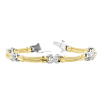Stylish Modern Ladies 14K Yellow & White Gold Diamond Unique Design Bracelet New