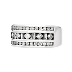 Exquisite Modern Ladies 14K White Gold Round, Princess & Baguette Diamond Ring
