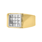 Stunning Modern Mens 14K Two-Tone Yellow & White Gold Diamond Signet Ring - New