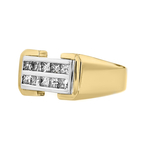 Stylish Modern 14K White & Yellow Gold Princess Cut Diamond Women's Men's Unisex Ring