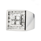 Stunning Modern Mens 14K White Gold Diamond Signet Ring - 1.42CTW - Brand New