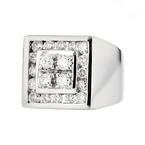 Stunning Modern Mens 14K White Gold Diamond Signet Ring - 1.42CTW - Brand New