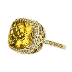 Stunning Modern 14K Yellow Gold  Citrine & Diamond Halo Ladies Ring -  1.46CTW