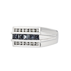 Stylish Modern 14K White Gold Diamond & Blue Sapphire Men's Women's Unisex Ring