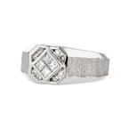 Stylish Modern Mens 18K White Gold Diamond Signet Ring - Brand New