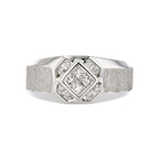 Stylish Modern Mens 18K White Gold Diamond Signet Ring - Brand New