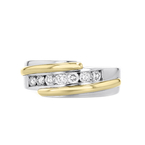 Elegant Modern 14K White & Yellow Gold Mens/Womens/Unisex Diamond Ring - New