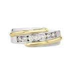 Elegant Modern 14K White & Yellow Gold Mens/Womens/Unisex Diamond Ring - New