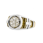 Stunning Modern Mens 14K White & Yellow Gold Diamond Signet Ring - Brand New
