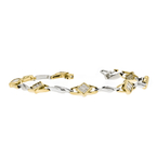 Charming Modern 14K Two-Tone White & Yellow Gold Ladies Diamond Bracelet - New
