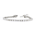 Stylish Modern 14K White Gold Ladies Diamond Tennis Bracelet - 7.59CTW - New