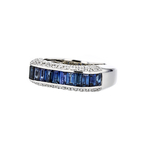 Elegant Modern Ladies 18K White Gold Diamond 1.15CT & Blue Sapphire 2.06CT Ring