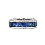 Elegant Modern Ladies 18K White Gold Diamond 1.15CT & Blue Sapphire 2.06CT Ring