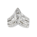 Exquisite Modern Ladies 18K White Gold Round Diamond Ring - Brand New