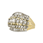 Gorgeous Modern Ladies 14K Yellow Gold Diamond Statement Ring - 3.15CTW - New