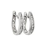 Stunning Modern Ladies 14K White Gold Diamond Huggie Hoops Earrings - Brand New