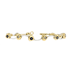 Charming Modern 14K Two-Tone Gold Ladies Diamond & Blue Sapphire Bracelet - New